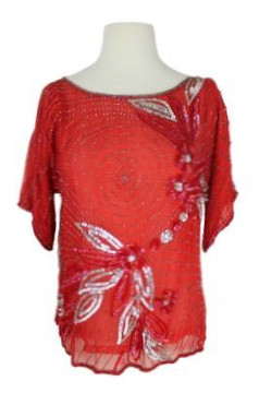Vintage 1980s Red Sequined Top