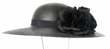 Black Wide Brim Hat with Silk Roses