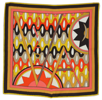 Vintage Emilio Pucci Orange, Yellow & Brown Vivara Scarf