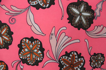 Vintage Emilio Pucci Hot Pink, Orange & Brown Floral Scarf