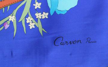 Vintage Carven Paris 1970s Flower Print Silk Scarf