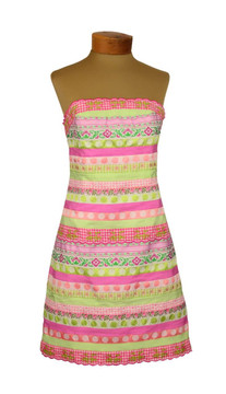 Lilly Pulitzer Pink & Green Striped Ribbon Strapless Dress 1