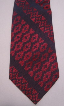 Indigo & Red Brocade Vintage Tie
