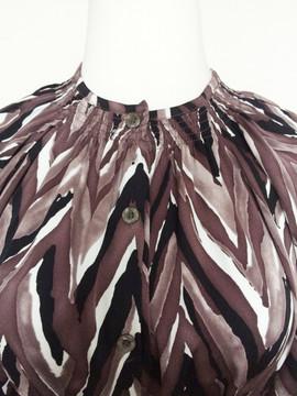 Tucker NYC Brown, Black, White Herringbone Silk Smocked Dress
