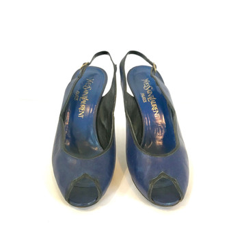 Yves Saint Laurent Navy Peep Toe Heels with Black Trim
