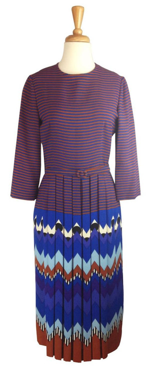 Lanvin Vintage Tribal Print Silk Crepe Dress