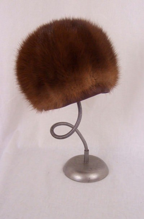 Brown Mink Fur Toque Hat