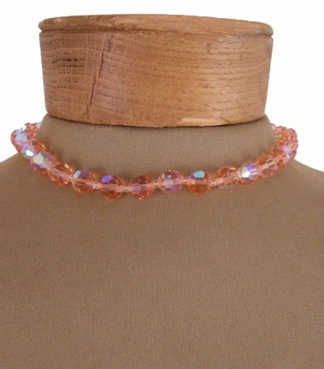 Vintage Pink Austrian Crystal Bead Necklace