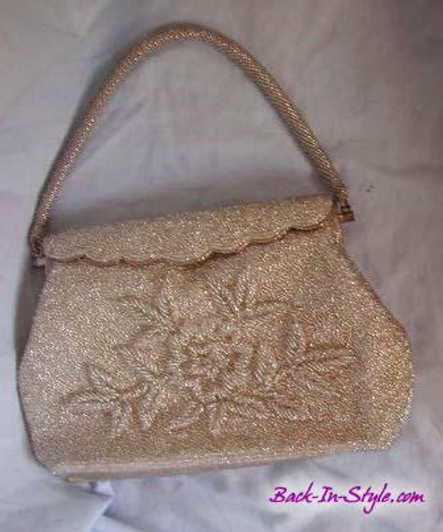 Clear Beaded Evening Bag with Rolled Flower Design