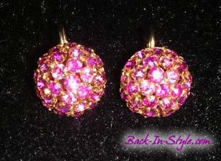 Pink rhinestone button ear clips