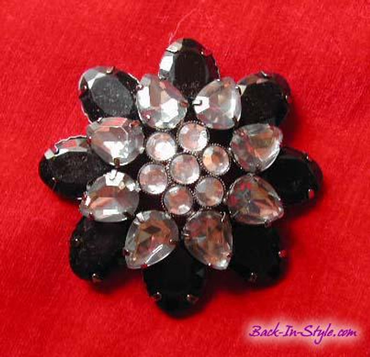 Black & Gray Round Rhinestone Brooch