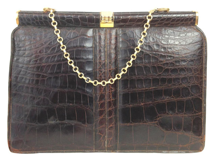 Vintage Brown Crocodile Handbag  1