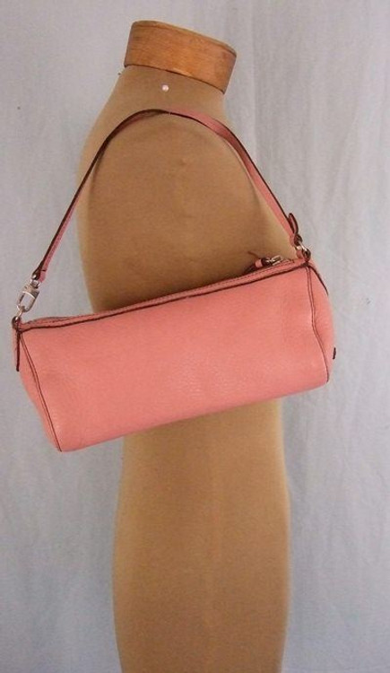 Cole Haan Pink Pebbled Leather Baguette Shoulder Bag
