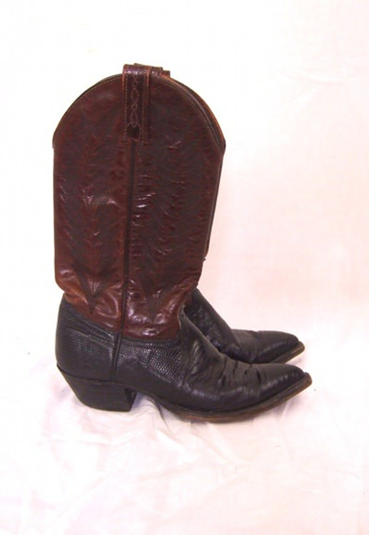 J. Crisholm Brown Leather & Black Snake Skin Cowboy Boots