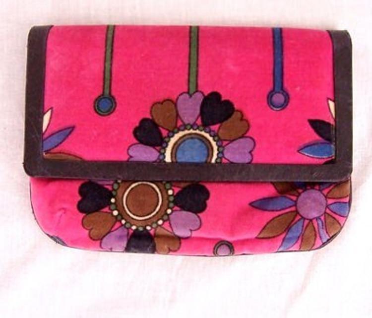 Emilio Pucci Vintage Dark Pink Velvet Floral Clutch
