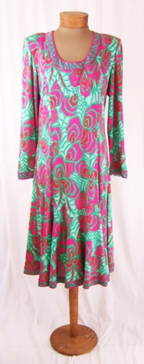Averardo Bessi Fuchsia & Green Silk Jersey Graphic Print Dress