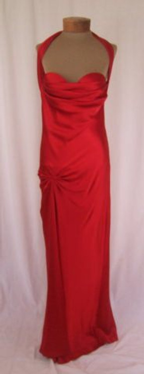Mayda Cisneros Red Silk Evening Gown