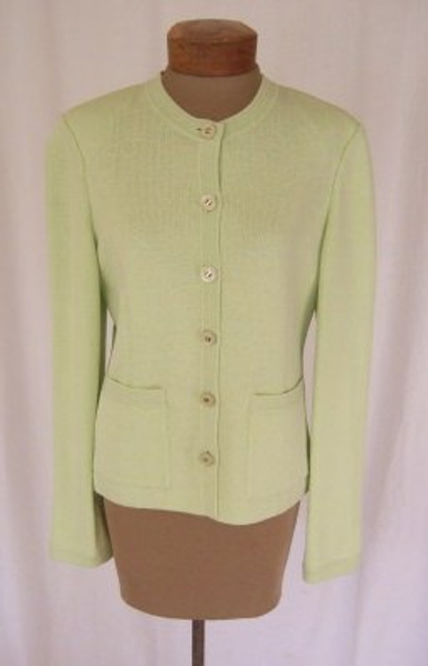 St. John Mint Green Knit Cardigan Jacket New!