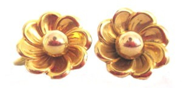 Vintage 1930s Small Gold Flower Earrings