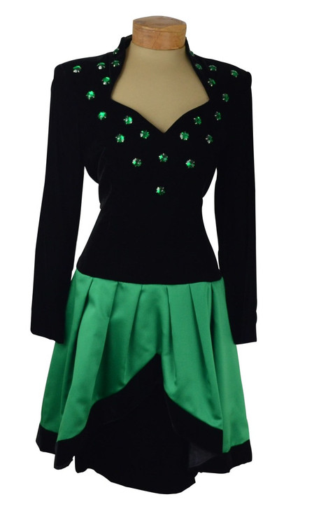 Lillie Rubin Black & Green Emerald 1980s Velvet Dress