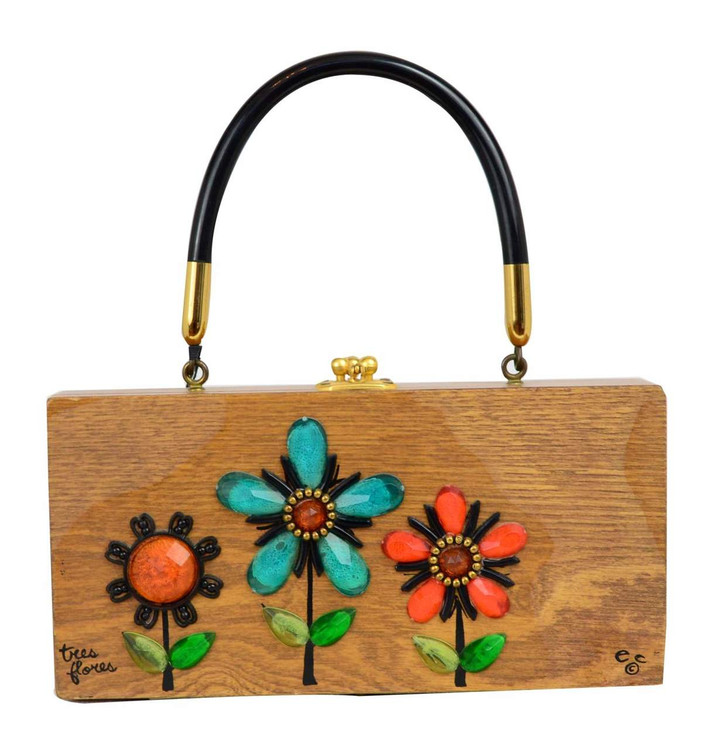 Enid Collins 'Tres Flores' Vintage Wooden Box Bag
