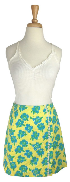 Lilly Pulitzer Yellow, Blue & Green Flowered Skirt