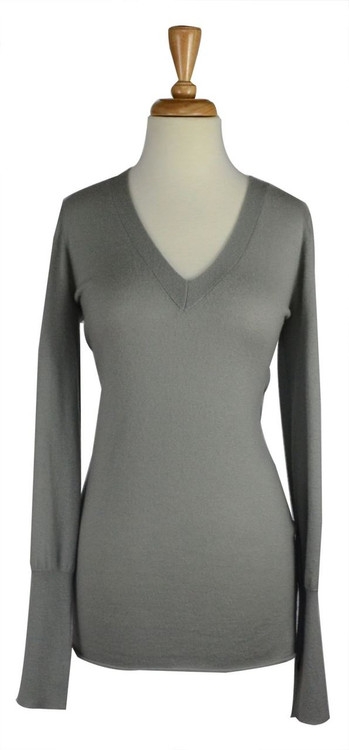 Juicy Couture Gray Cashmere V neck Sweater with Open Back