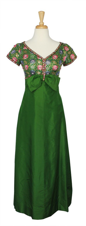 Vintage 1960s Green Floral Brocade Jacquard Evening Dress