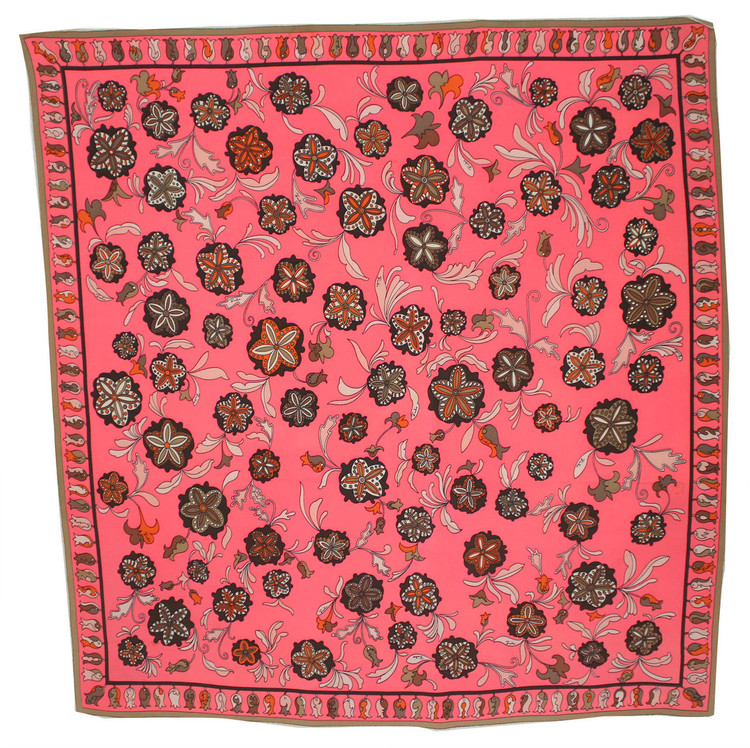 Vintage Emilio Pucci Hot Pink, Orange & Brown Floral Scarf