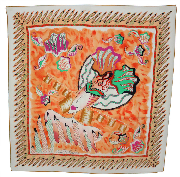 Vintage Zandra Rhodes 1970s Painted Lady Silk Scarf