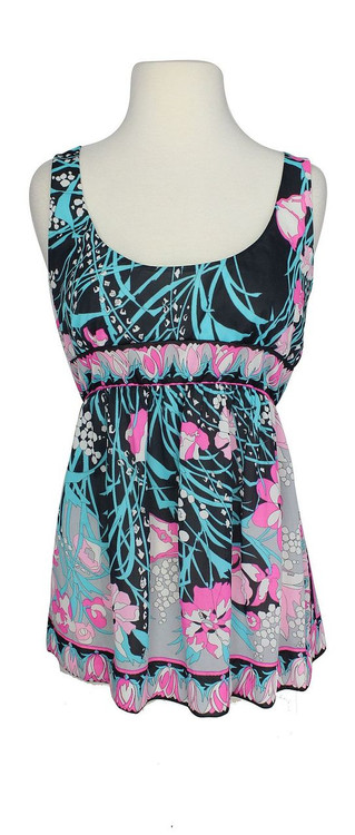 Vintage Emilio Pucci for Formfit Rogers 1960s Black & Pink Top