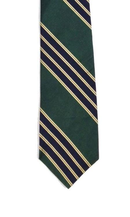 Bert Pulitzer Navy & Green Diagonally Striped Tie