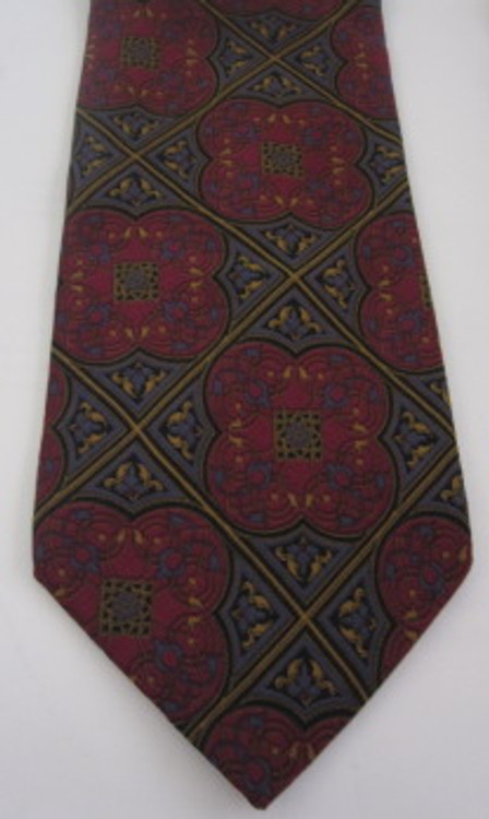Bill Blass pink, blue gold geometric floral tie