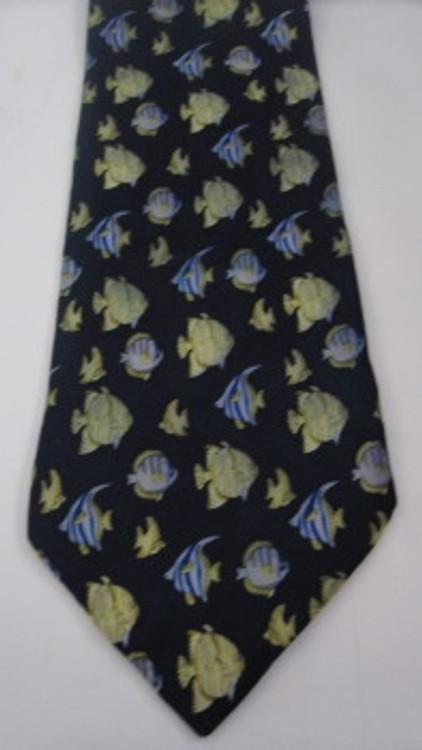 Giorgio Armani navy blue & green fish tie