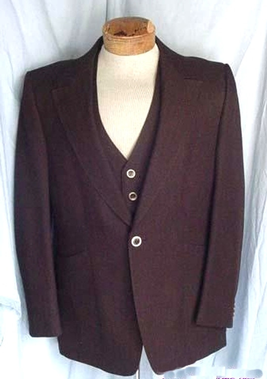 Vintage Brown Polyester Jacket & Vest