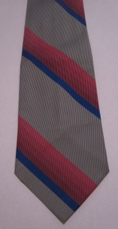 Pink, Blue and Gray Retro Striped Tie