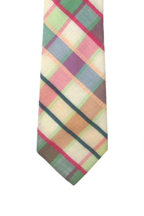 Vintage Saks Fifth Avenue Wide Cotton Plaid Tie