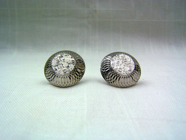 Metallic Etched Round Vintage Cuff Links