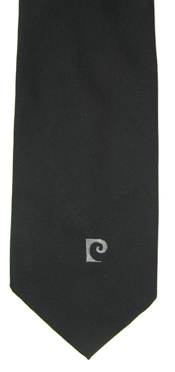 Vintage Pierre Cardin Black Wide Tie with Logo Tip