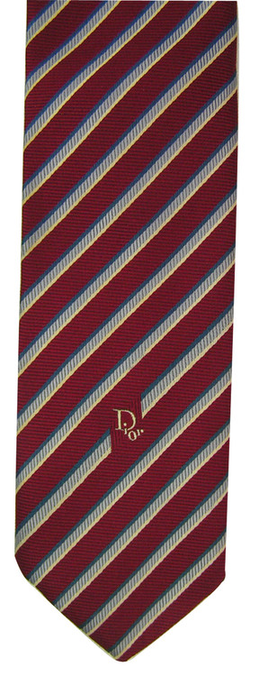 Vintage Christian Dior Red Diagonal Stipe Tie with Logo Tip