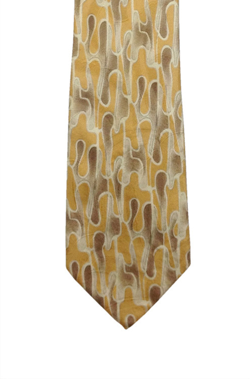 Robert Talbott Tan and Brown Abstract Drip Textured Woven Silk Tie