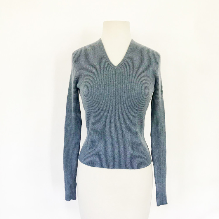 TSE 100% Cashmere Ribbed Gray Blue V Neck Sweater