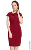 Asymmetrical Draped Crepe Dress - Burgundy