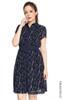 Floral Print Shirt Dress - Navy