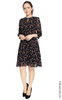 Floral Buttons Chiffon Dress - Black