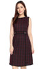 Checkered Overlap Dress - Wine