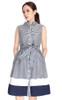 Striped Flare Shirt Dress - Midnight Blue