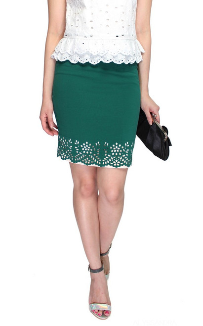 Laser Cutout Pencil Skirt - Emerald | ALYSSANDRA | Online Shopping Office Wear Singapore