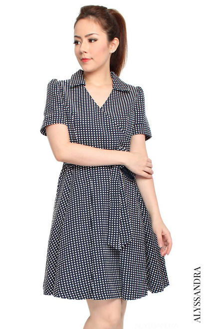 Wrap Front Flare Dress - Navy