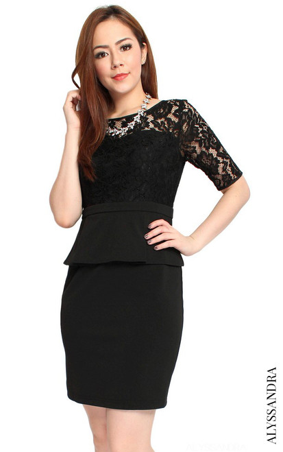Lace Bodice Peplum Dress - Black